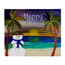 Snowman on the beach sunset Throw Blanket