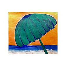 Sunset Beach Umbrella Throw Blanket
