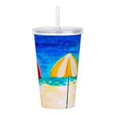 Sunset Beach Umbrellas Acrylic Double-Wall Tumbler