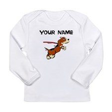 Custom Dog On Leash Long Sleeve T-Shirt