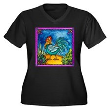 Cute Roosters Women's Plus Size V-Neck Dark T-Shirt