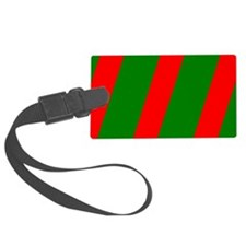 Chic Red Green Striped Slant Designer Luggage Tag