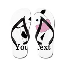Personalizable Black White Cow Flip Flops