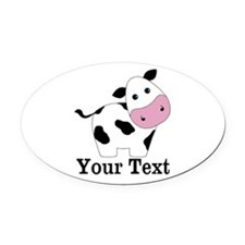 Personalizable Black White Cow Oval Car Magnet