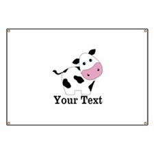 Personalizable Black White Cow Banner