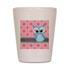 Beautiful Teal Owl Personalized Shot Glass