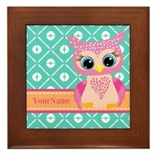 Cute Pink Little Owl Personalized Framed Tile