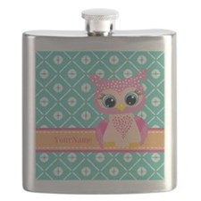 Cute Pink Little Owl Personalized Flask