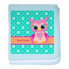 Cute Pink Little Owl Personalized baby blanket
