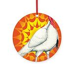 Sunburst White Turkey Ornament (Round)