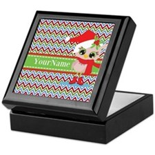 Chevron Christmas Owl Personalized Keepsake Box