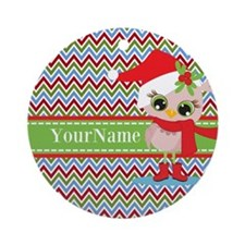 Chevron Christmas Owl Personalize Ornament (Round)