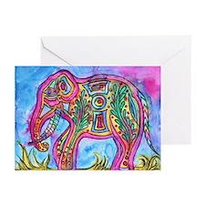 Rainbow Tribal Elephant By Vanessa Greeting Cards