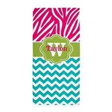 Pink Teal Green Chevron Zebra Personalized Beach T