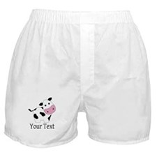Personalizable Black and White Cow Boxer Shorts