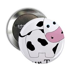 """Personalizable Black and White Cow 2.25"""" Button (1"""