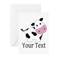 Personalizable Black and White Cow Greeting Cards