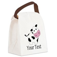 Personalizable Black and White Cow Canvas Lunch Ba