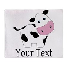 Personalizable Black and White Cow Throw Blanket