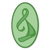 """Green Ribbon Twist"" Oval Decal"