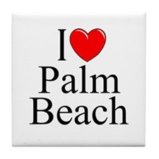 """I Love Palm Beach"" Tile Coaster"