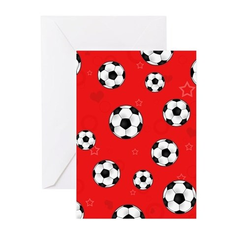 Cute Soccer Ball Print - Red Greeting Cards