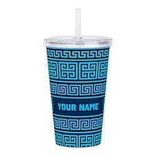 Personalize Greek Pattern Aqua/Blue Acrylic Double