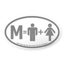 Marriage Equals One Man and One Woman Oval Decal