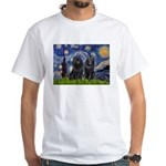 Starry Night & Schipperke White T-Shirt