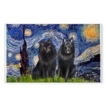 Starry Night & Schipperke Sticker (Rectangle)