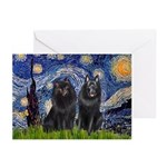 Starry Night & Schipperke Greeting Cards (Pk of 10
