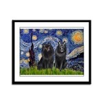 Starry Night & Schipperke Framed Panel Print
