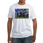 Starry Night & Schipperke Fitted T-Shirt