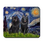 Starry Night & Schipperke Mousepad