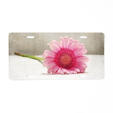 Funny Pink gerbera daisy Aluminum License Plate