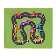 Race Car Animals Throw Blanket