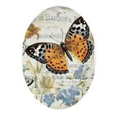 modern vintage butterfly Ornament (Oval)