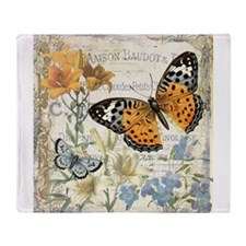 modern vintage butterfly Throw Blanket