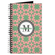 Gray and Pink Pattern Monogram Journal