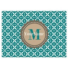 Teal Seamless Pattern Monogram Invitations