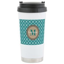 Teal Seamless Pattern M Travel Coffee Mug