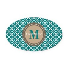 Teal Seamless Pattern Monogram Oval Car Magnet