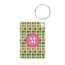 Monogrammed Teal Coral Pol Keychains