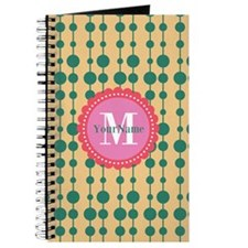 Monogrammed Teal Coral Polka Dots Journal