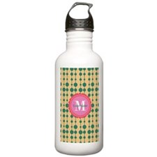 Monogrammed Teal Coral Water Bottle