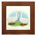 Sebastopol Goose Pair Framed Tile