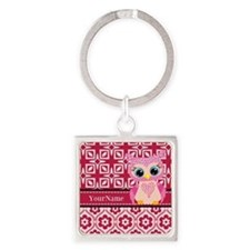 Cute Pink Owl Personalized Square Keychain