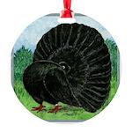 Fantail Black Pigeon Round Ornament