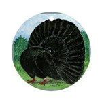 Fantail Black Pigeon Ornament (round)
