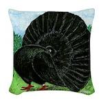Fantail Black Pigeon Woven Throw Pillow